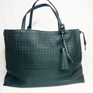 TUMI Green Woven Leather Tote